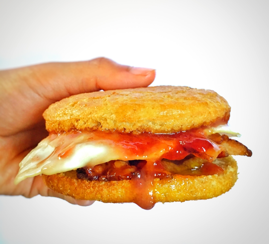 Bacon and Egg Sandwich with StrawberryJam