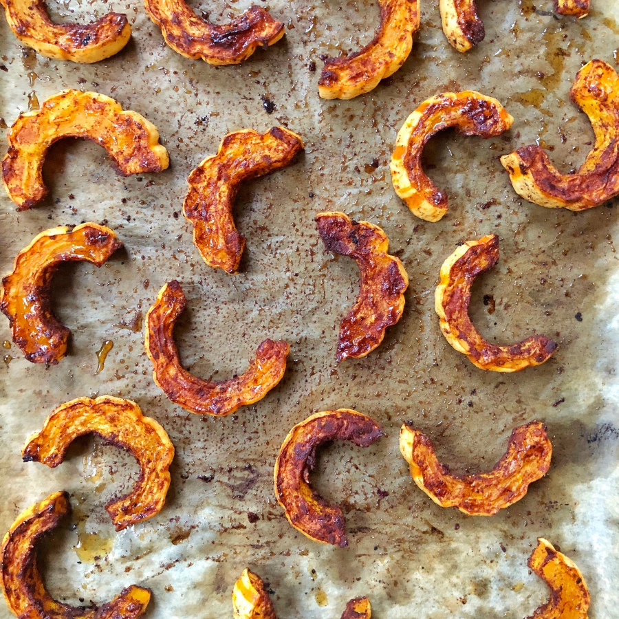 Roasted Cinnamon Honey Delicata Squash